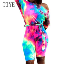 TIYE Tie Dying Sexy Off Shoulder Half Sleeve Retro Jumpsuits Summer Bodycon Bandage Short Playsuits Women Vintage Overalls
