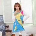2016 Outono Itália Mapa Padrão Pijamas Conjuntos Pijamas Mulheres Pijamas Mujer Femme Manga Longa Azul Sleepwear Homewear Feminino M ~ XL