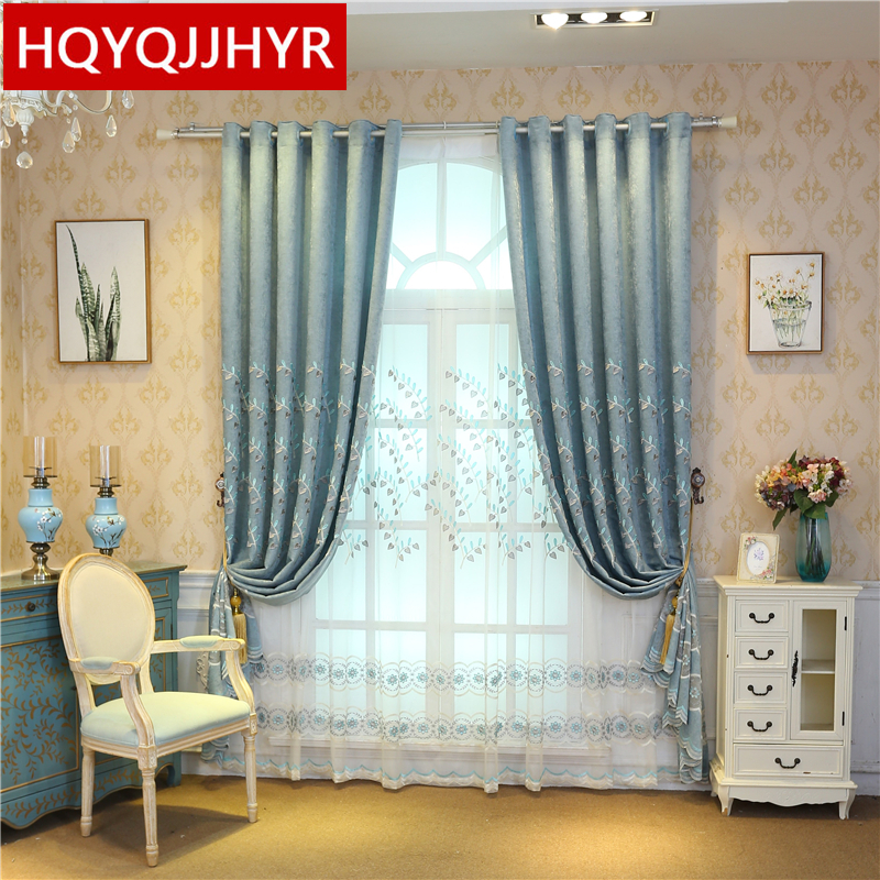 Blue Farmhouse Style Luxury Embroidered Curtain Fabric For The Living Room Windows Curtain Bedroom High Quality Villa Draps Curtains Aliexpress