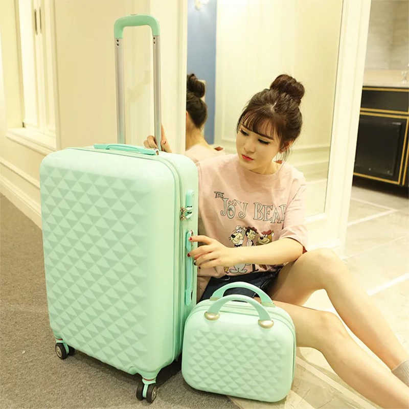 4ae88bf43 Girls cute trolley luggage set ABS hardside cheap travel suitcase bag on  wheels women spinner rolling