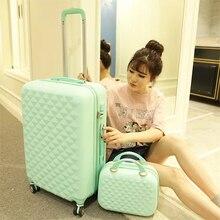 Meisjes leuke trolley bagage set ABS hardside goedkope reizen koffer tas op wielen vrouwen spinner rollende koffer cosmetische tas