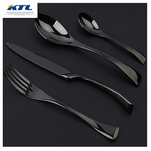 KuBac 24Pcs Golden Black Silver Dinnerware 304 Cutlery Set Stainless Steel Dinner Steak Knife Fork Teaspoon Party Gift