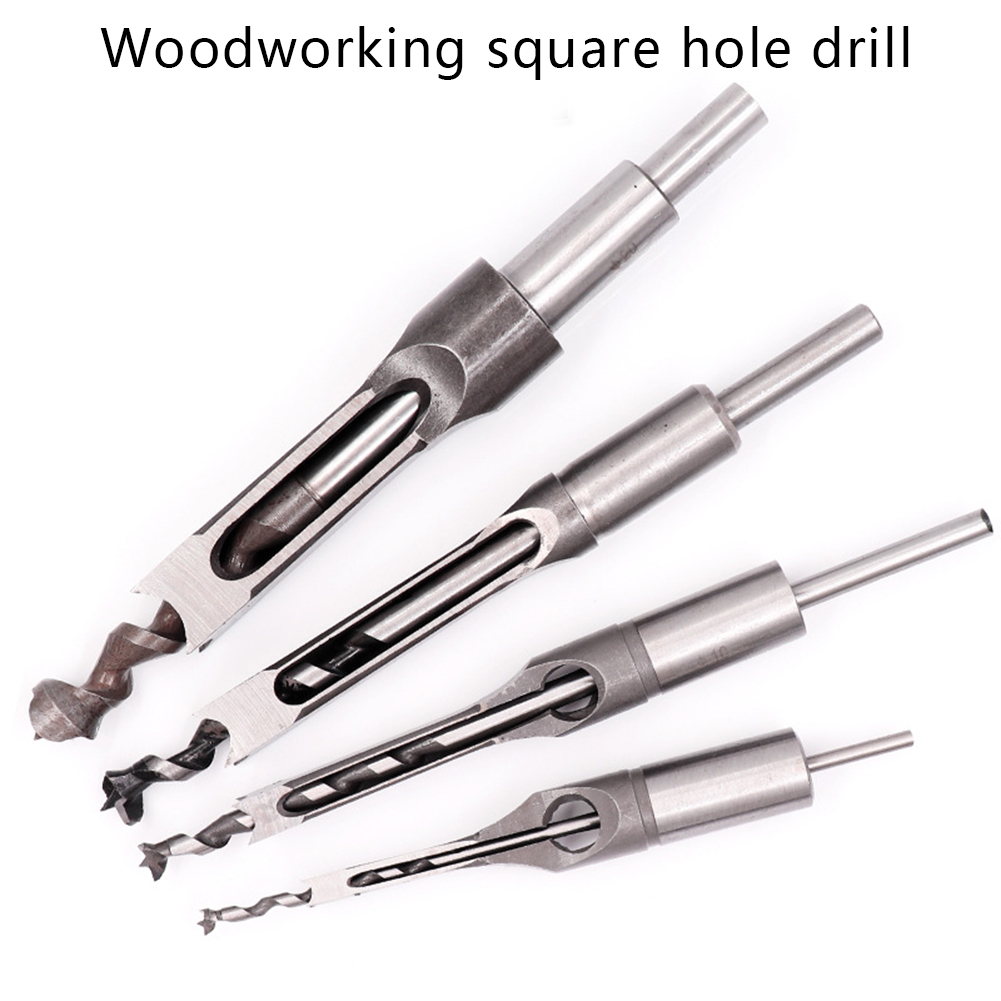 4pcs Woodworking Square Drill Bits Set Wood Mortising Chisel Countersink Bits Woodworker Tool Kits QJS Shop