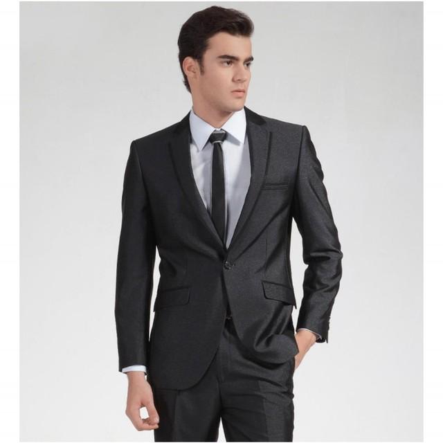 Envío Gratis Simple Por Encargo de Los Hombres Traje (jacket + pants + tie) dos piezas traje formal Slim Fit Para los hombres Traje de boda de La Venta Caliente