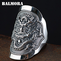 BALMORA 990 Pure Silver Kirin Animal Open Rings for Men Vintage Fashion Thai Silver Ring Gift Party Jewelry Anillos SY22337