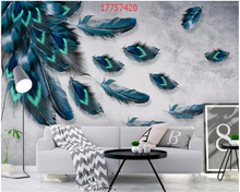 beibehang Customized modern minimalist hand-painted colored feathers geometric background wall home decoration wallpaper behang