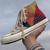 Men's Summer Sneakers Fashion Canvas Shoes For Men Sewing Spot Lace-Up Mixed Colors Massage Casual Flat Sneakers Male