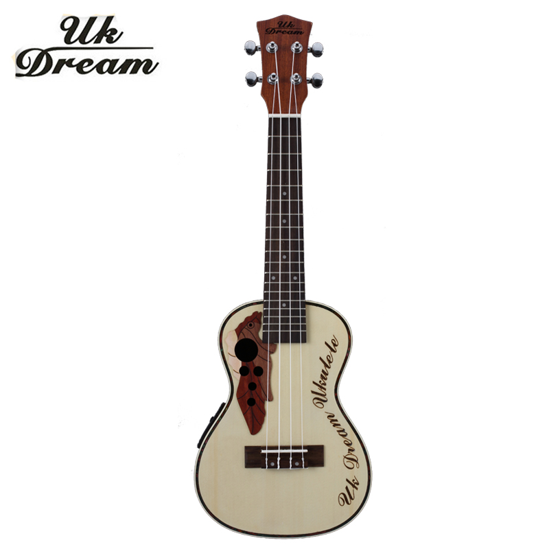 цена 23 inch Electric Ukulele Musical Spruce Sapele Grape Hole 4 Strings Guitar With Electric Box Small Instruments 18 Frets UC-316EQ
