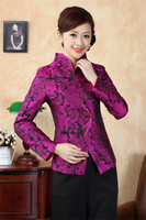 Shanghai Story new arrival Satin Silk Chinese Women's Purple Embroider Jacket Coat Flowers chinese style Size M 3XL J0065