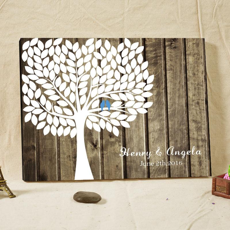 rustic wedding guest book signature fingerprint tree wood framed vintage engagement keepsake customized name date