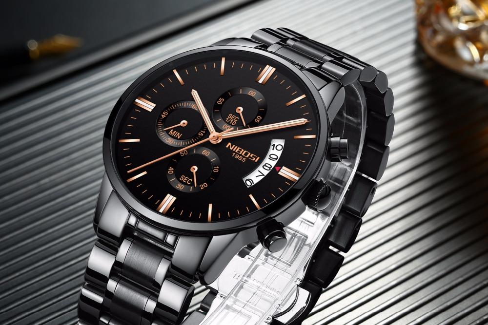 Relojes de hombre NIBOSI Relogio Masculino, relojes de pulsera de cuarzo de estilo informal de marca famosa de lujo para hombre, relojes de pulsera Saat 9