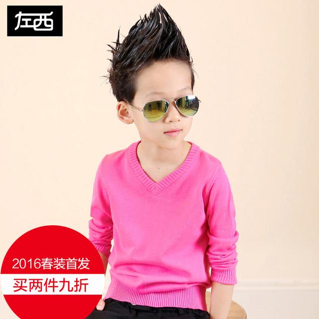 Primavera de roupas infantis criança do sexo masculino camisola criança camisa básica camisola 2017 bakham criança