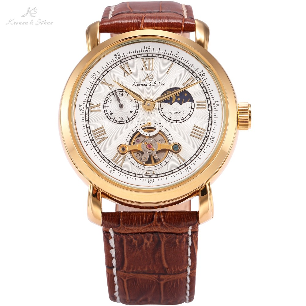 Navigator KS Tourbillon Golden Automatic Self Winding Sun Moon Day Night Display Leather Strap Men Mechanical