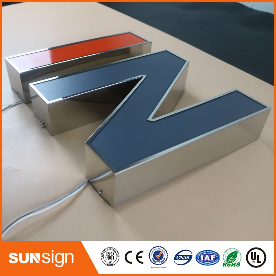 Custom Chrome Stainless Steel Led Sign 3d Letter Signage