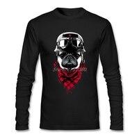 Adventurer Pug T-shirt Katoen Lange Mouw Custom Hond Mannen T-shirt 2017 Hot Cosplay mannen Shirts