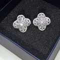 Fashion Flower Stud Earrings White Gold Plated Cut Cubic Zirconia Earring For Women Jewelry GLE6106