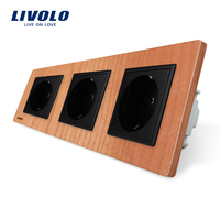 Livolo EU Standard Socket Cherry Wood Panel Outlet Panel Triple Wall Power Sockets Without Plug VL