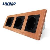 Livolo EU Standard Socket Cherry Wood Panel Outlet Panel Triple Wall Power Sockets Without Plug VL