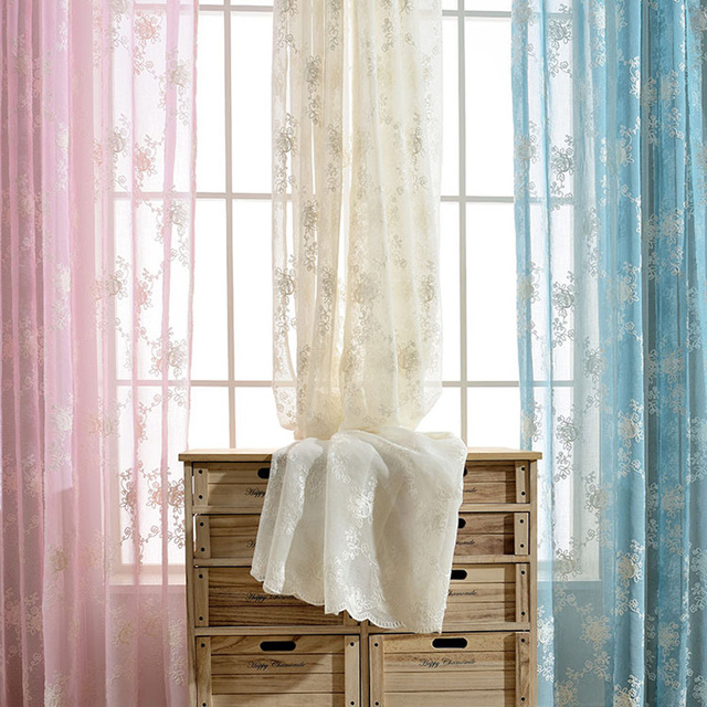 Flower Embroidered Sheer Voile Curtains European Palace Designs Window Tulle Home Decor Pattern Luxury