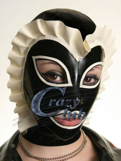 ФОТО Crazy club_Sexy 100% Natural Latex Handmade Mask Fetish Female Latex Hood Mask Fetish two-tone cap with latex Butterfly folds