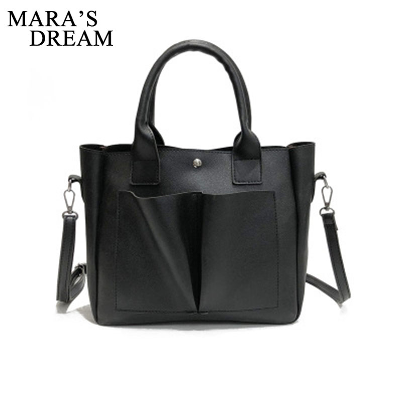 Mara's Dream Fashion PU Leather Top-handle Women Handbag Solid Ladies Lether Shoulder Bag Casual Large Capacity Crossbody Bags