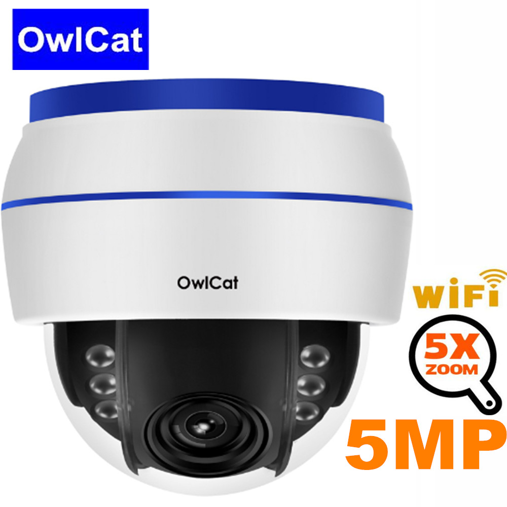 OwlCat Security Camera 5MP Dome WiFi IP Camera PTZ HD 5x Optical Zoom Built-in MIC Sound Record 128G SD Card Slot Night vision image
