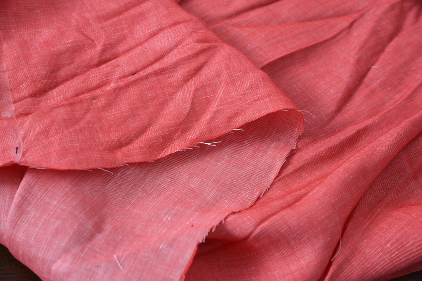 Huhubudian Japanese imported dyed linen light red 1.4 meters wide 55 meters