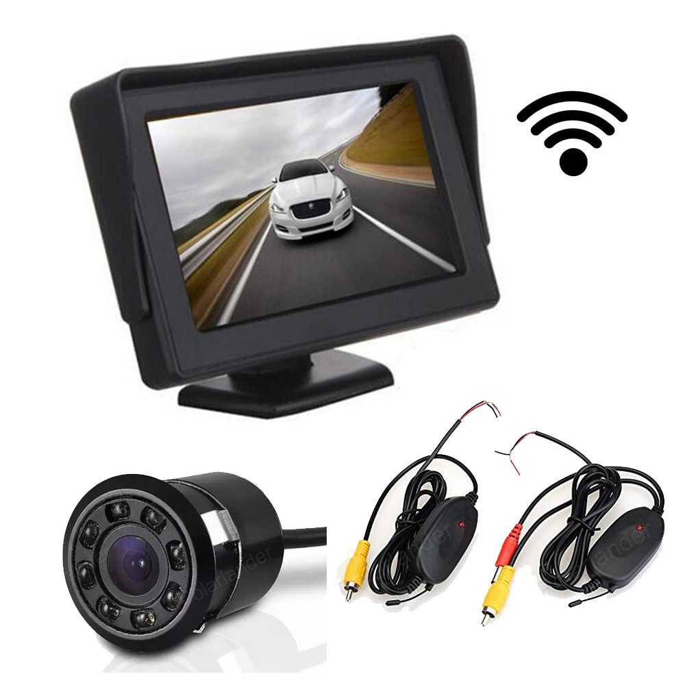 wireless 4.3 Inch car Monitor TFT LCD Display two video input with 18.5mm 8 led night vision Rear View parking Camera