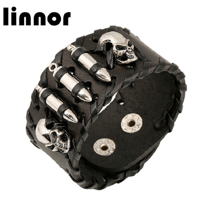 Linnor Punk Homme Skull Bullet Wrap Bracelet Bangle for Male Motorcycle Black Cool Leather Braclets Pulseiras Masculinos