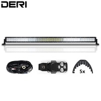 5D 52inch 300W Straight LED Work Light Bar Boat Car Truck SUV Off Road Fog Lamp with Wireless Remote Control Wiring Kit Isolator