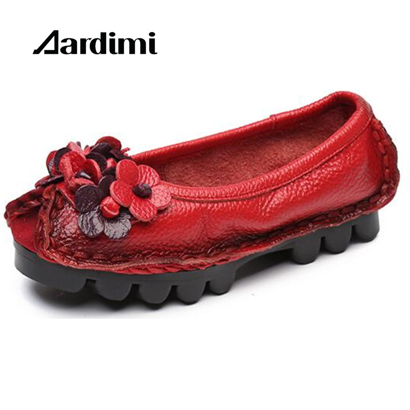 Top quality Handmade Floral Women Shoes Genuine Leather Spring Loafers Women Flats Ballet Casual Slip On