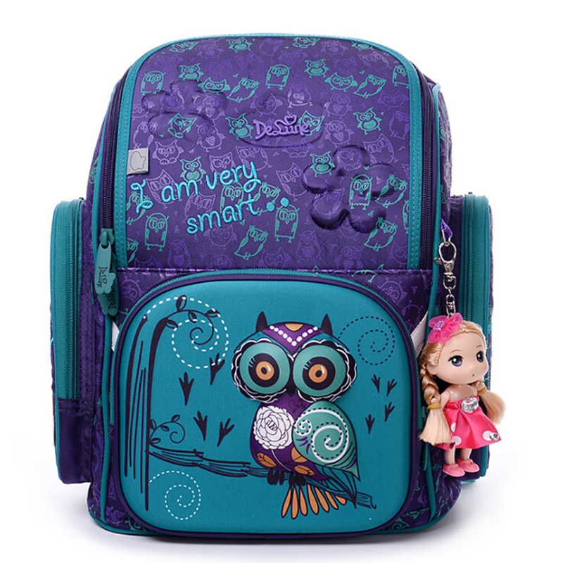 High Quality Brand School Bags for Girls 3D owl Bear Print SchoolBag Children Orthopedic Backpack Mochila