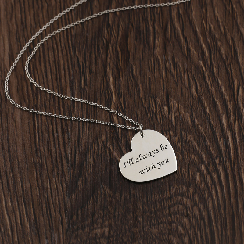 Lover Heart Silver Pendant & Necklace 925 Sterling Personalized Name Necklace with <font><b>confession</b></font> words Lover's Parents Gift
