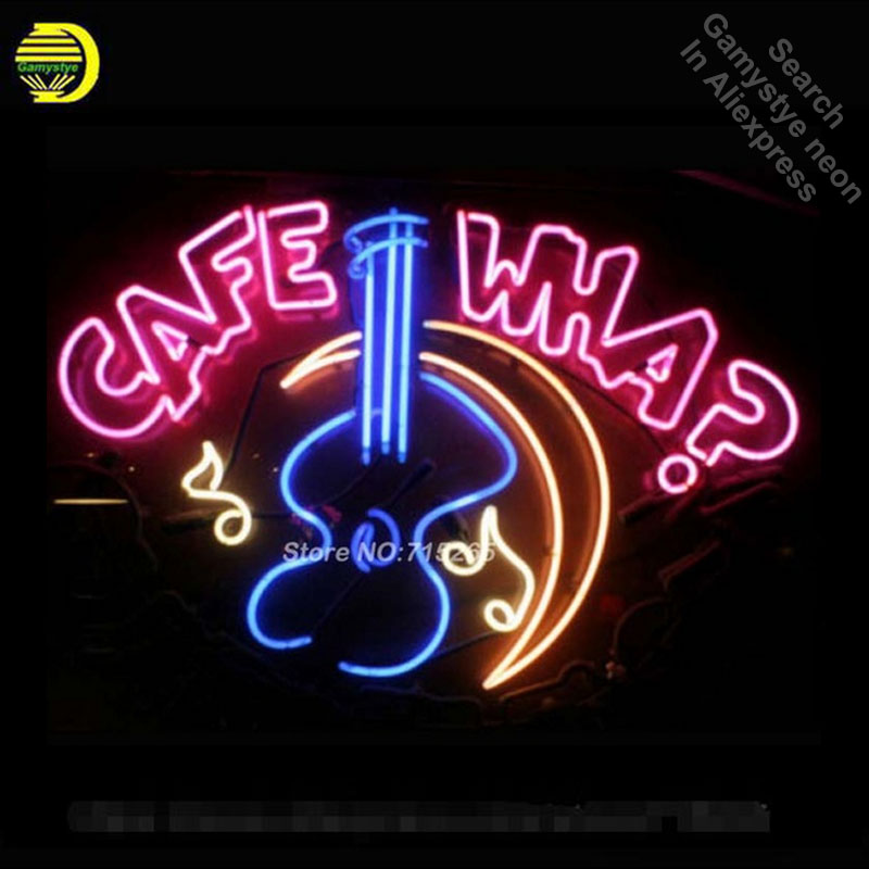 NEW CAFE WHA? BEER Neon Sign Neon Bulbs Recreation Room Garage Sign Store Display Glass Tube Art Handcraft Beautiful 17x14
