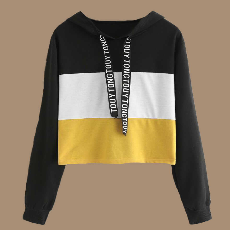 516b13a8d3c Lace Up Drawstring Hoodie Sweatshirt Crop Top Hoodie Poleron Mujer 2019  Black Yellow Patchwork Clothes Color