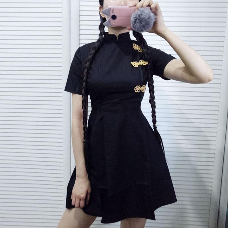 New Hot Japanese Harajuku Vintage Gothic Lolita Dresses Black Red Slim Chinese Style Cheongsam Dress Cheongsam Robe.