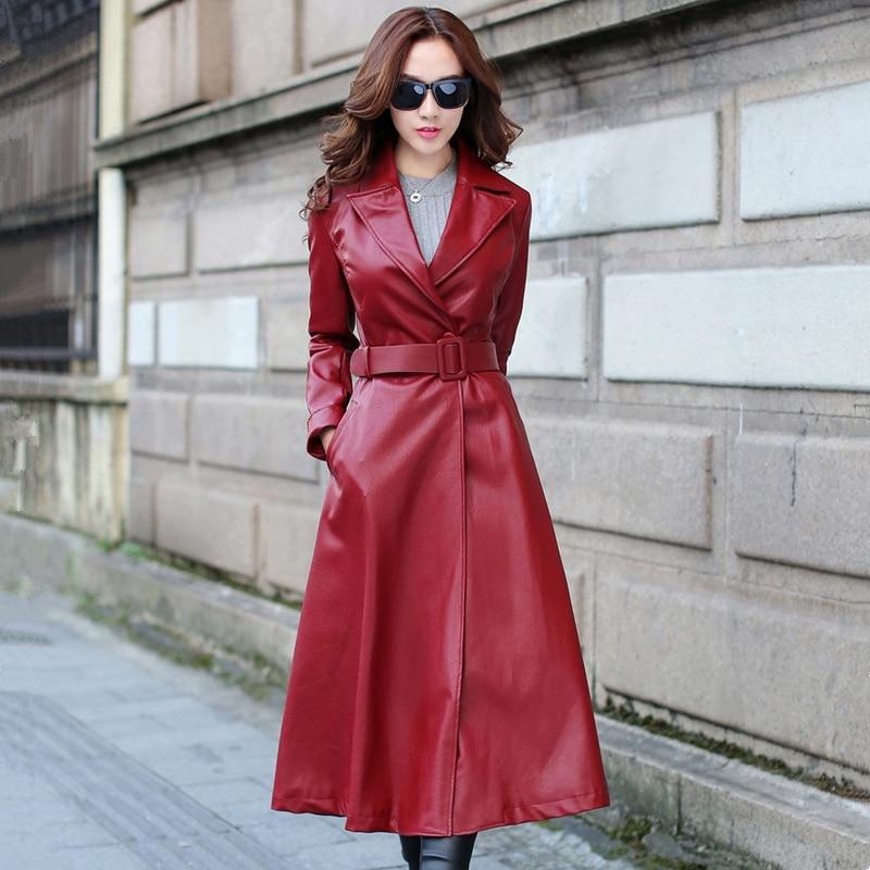 En Hiver Noir Vintage Oversize Manteau rouge Longue Cuir Pu Large Veste Noir Revers Femmes Femme Snr8qFxSBw
