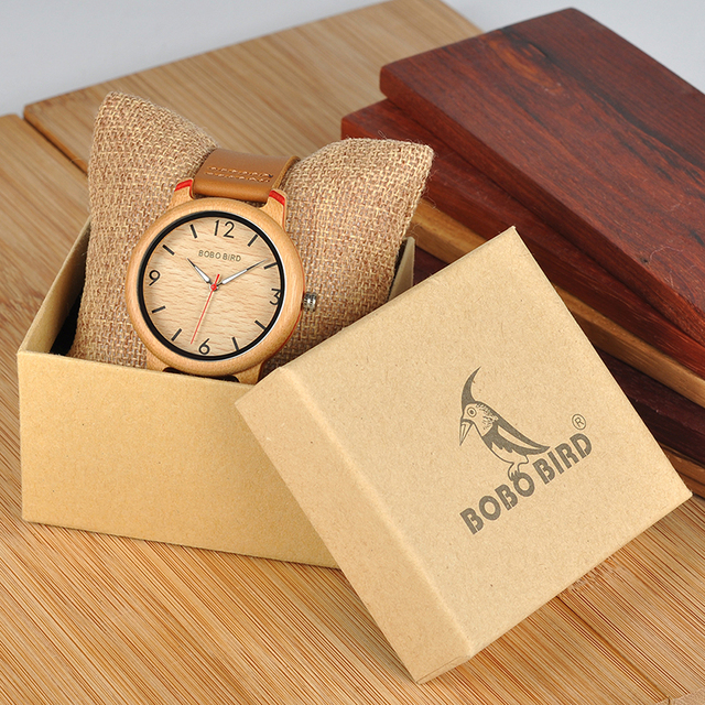 Reloj de madera bambú combinación color pulso cuero 4