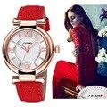 Sinobi reloj de mujer de marca de moda de lujo de cuarzo ocasional relojes deportivos de cuero de la señora relojes mujer relojes de las mujeres vestido de la muchacha