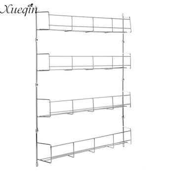 xueqin 4 Layers Kitchen Spice Rack Cabinet Organizer Wall Mount Storage Shelf Pantry Holder Multifunctional Bathroom Supplies Полки, шкафы и органайзеры для специй