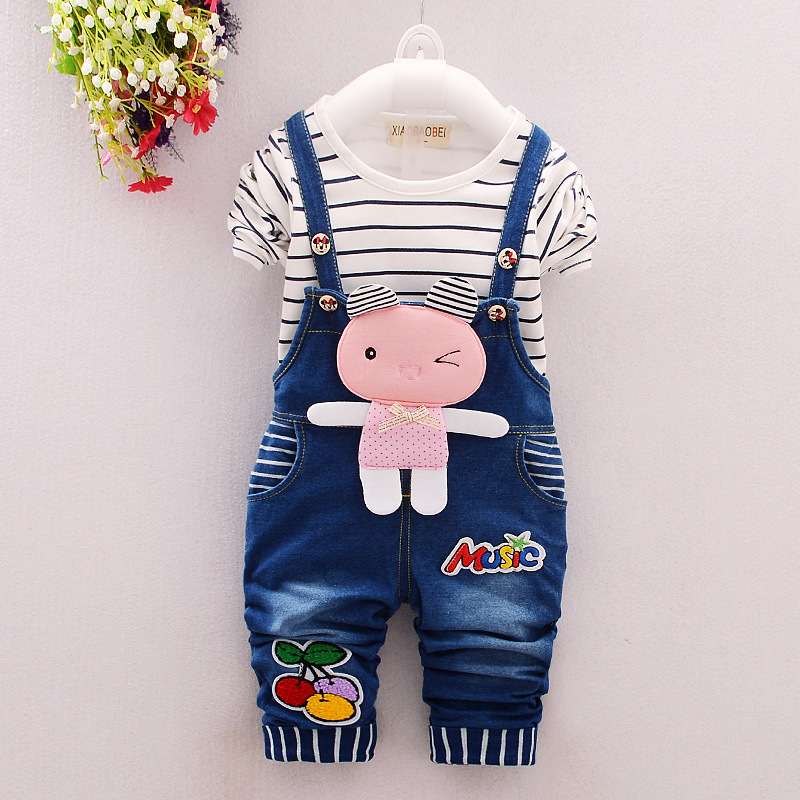 2016 Spring Baby Girls Clothing Set Children Denim Overalls Rabbit Jeans Pants+Striped T-shirt Full Sleeve 2pcs Kids Clothes Set