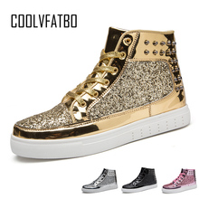COOLVFATBO Cool Men Women High TopGold Glitter Sneakers Lace Up Platform Flats Gold Shoes Man Sequins krasovki Bling Shoes Ins