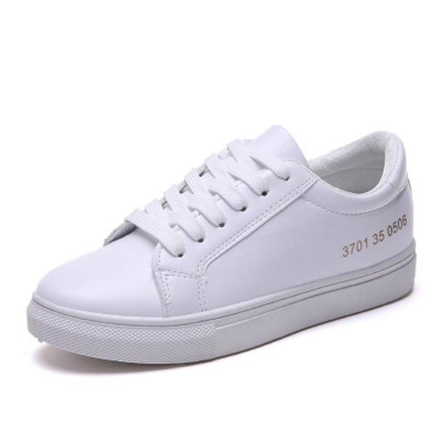 Si siente primavera zapatillas blancas para las mujeres cómodamente Lace-up Flats Zapatos mujer Zapatillas moda Casual zapatos