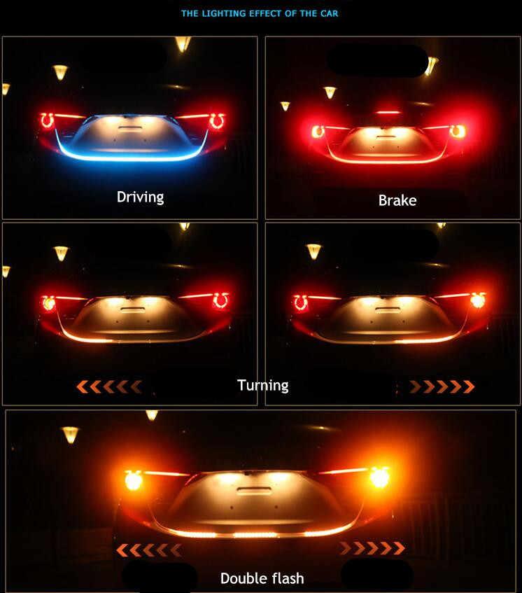 120, 150 см, янтарный поток, красный, синий, Светодиодная лента для багажника, ходовая часть, плавающий светильник, сигнал поворота, задняя дверь, Led, гибкая, drl, автомобильный стиль