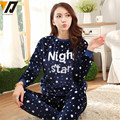 Cute Sleeping Night Star Pattern Coral Fleece Pajamas Home Furnishing Suit Plush Pajamas Flannel Nightwear