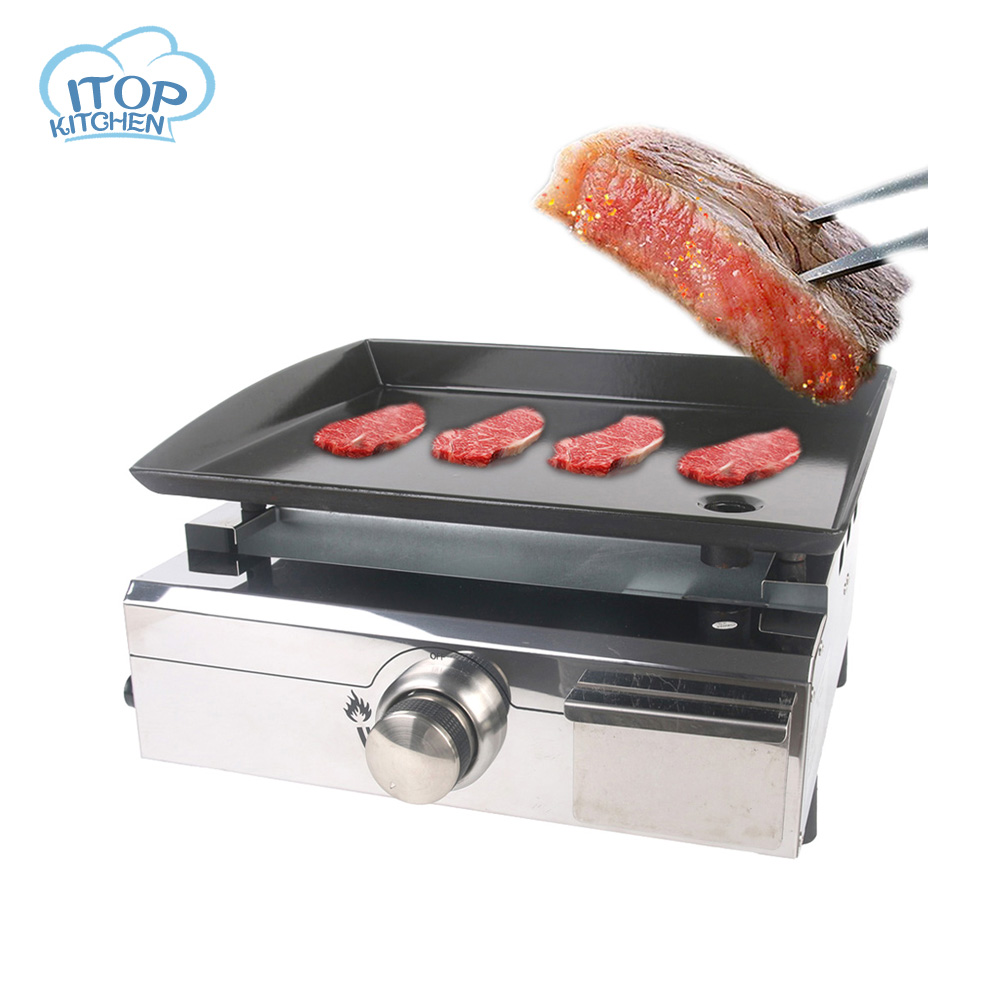 ITOP LPG Gas Plancha Stainless Steel Body Electronic Pulse Ignition Easy Cleaned BBQ Grill Outdoor