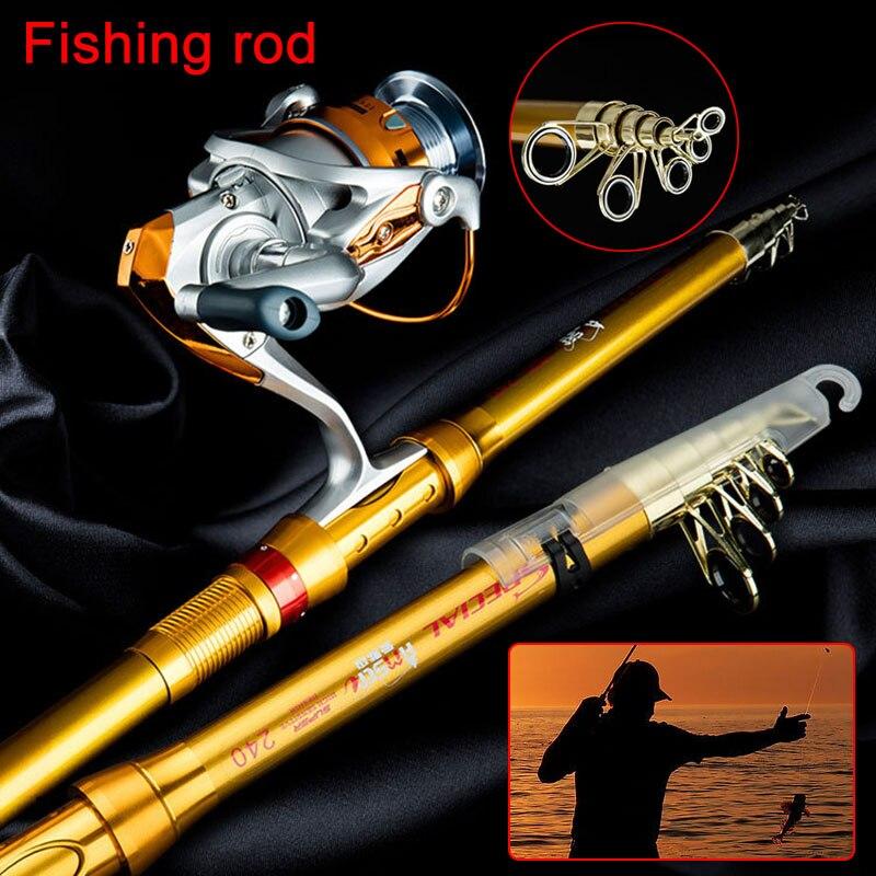 Telescopic Sea Fishing Rod Reel Portable Carp Spinning Fish Tackle Fishing Pole ASD88