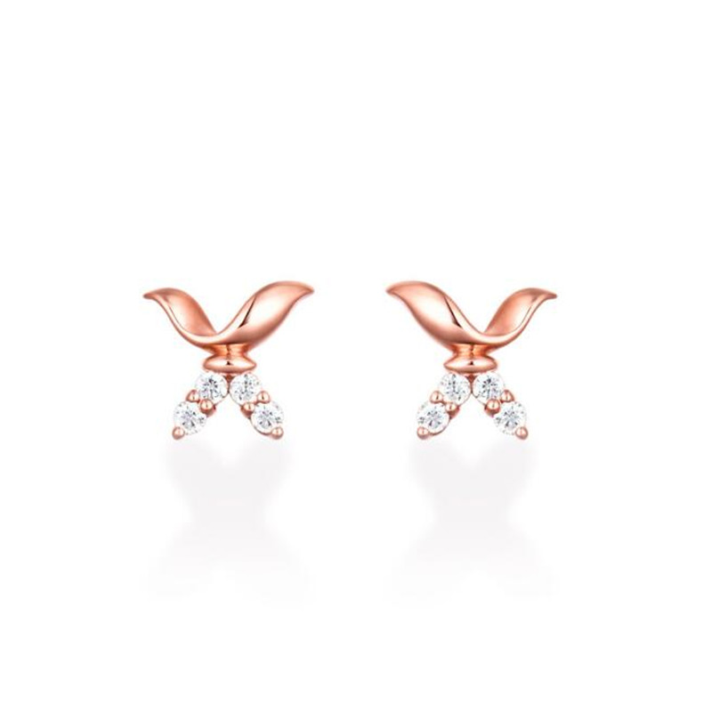 2018 New Hot Flying Wing To Wing 100% 18K Gold Stud Earrings Pure Gold Fine Jewelry For Women Real AU750 Gold Jewelry 0.76g starry pattern gold plated alloy rhinestone stud earrings for women pink pair