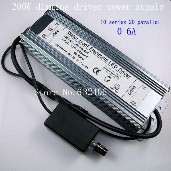 IP67 imperméabilisent le pilote de LED à courant constant Dimmable de 200 W avec le gradateur, AC à DC25V-36V 0-6A