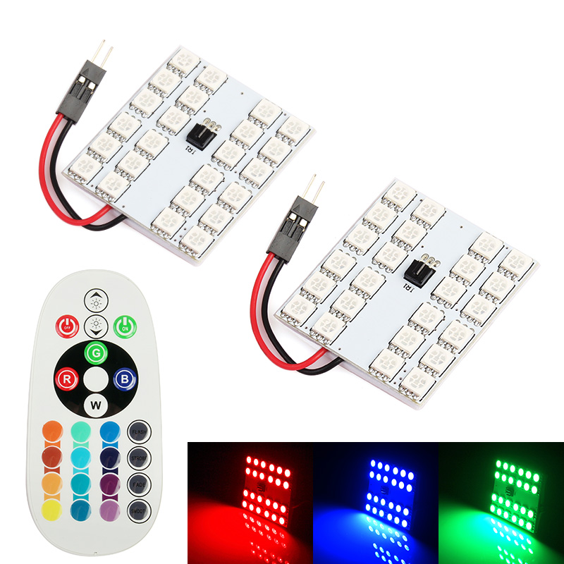 Festoon <font><b>T10</b></font> LED 12/15/24/36-<font><b>SMD</b></font> RGB Remote Control 16 Colors <font><b>4</b></font> Flashing Mode 2 Connectors for Choice Dome Light Interior Lamp image